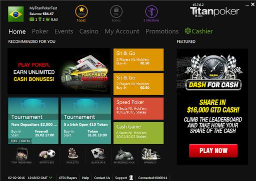 Какие есть игры на Титан Покере, вкладка с турнирами рядом.